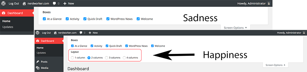Adding the Dashboard Column Layout Back to the WordPress Admin